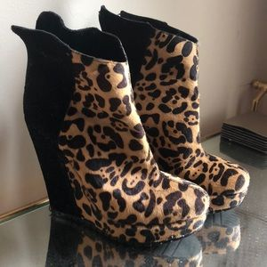 Pony hair leopard wedge booties